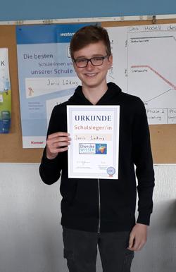 Siegerfoto Geografiewettbewerb Diercke Wissen 2021 ist Joris Lüking auf Schulebene